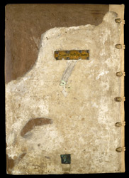Lower Cover Of The Binding, With Title-Piece And Chain Fitting, On A Volume Of Ralph Of Diceto's Minor Historical Works